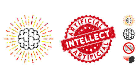 Mosaic brain radiance icon and rubber stamp seal with Artificial Intellect phrase. Mosaic vector is composed from brain radiance pictogram and with scattered circle items.