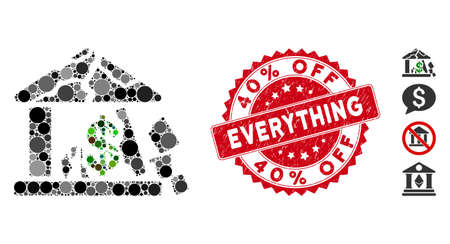 Mosaic broken bank icon and rubber stamp seal with 40% Off Everything text. Mosaic vector is created with broken bank icon and with scattered spheric elements. 40% Off Everything seal uses red color, Stock Illustratie