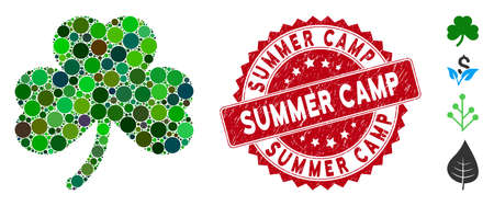 Collage clover leaf icon and grunge stamp seal with Summer Camp caption. Mosaic vector is designed with clover leaf icon and with random round spots. Summer Camp stamp seal uses red color, Vektorgrafik