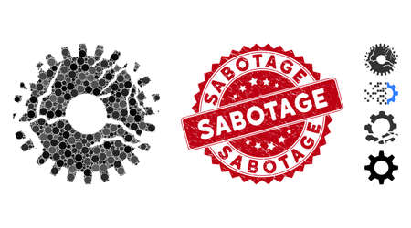 Mosaic corrupted gear icon and distressed stamp seal with Sabotage phrase. Mosaic vector is created with corrupted gear icon and with scattered circle spots. Sabotage seal uses red color, Illustration