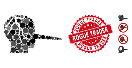 Mosaic corrupted liar icon and rubber stamp seal with Rogue Trader phrase. Mosaic vector is created with corrupted liar icon and with scattered circle elements. Rogue Trader seal uses red color, Foto de archivo - 134974782