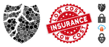 Collage corrupted shield icon and rubber stamp seal with Low Cost Insurance phrase. Mosaic vector is created with corrupted shield icon and with random round spots.
