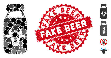 Mosaic cow milk icon and grunge stamp seal with Fake Beer caption. Mosaic vector is designed from cow milk icon and with scattered round elements. Fake Beer stamp seal uses red color, Ilustrace