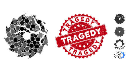 Mosaic damaged circular saw icon and grunge stamp watermark with Tragedy caption. Mosaic vector is formed with damaged circular saw icon and with random circle spots. Tragedy stamp uses red color, Illusztráció