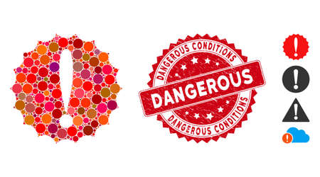 Mosaic dangerous conditions icon and distressed stamp seal with Dangerous Conditions phrase. Mosaic vector is designed with dangerous conditions icon and with random round elements.