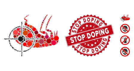 Mosaic dead flea icon and corroded stamp watermark with Stop Doping caption. Mosaic vector is created with dead flea icon and with random circle spots. Stop Doping stamp uses red color,