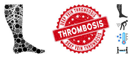 Mosaic deep vein thrombosis icon and rubber stamp seal with Deep Vein Thrombosis caption. Mosaic vector is composed with deep vein thrombosis icon and with scattered round items.