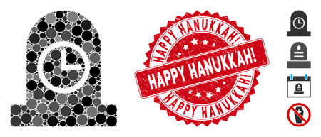 Mosaic expired grave icon and rubber stamp seal with Happy Hanukkah! text. Mosaic vector is created with expired grave icon and with random circle items. Happy Hanukkah! seal uses red color,