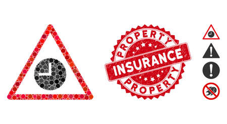 Mosaic expired warning icon and corroded stamp seal with Property Insurance caption. Mosaic vector is formed from expired warning icon and with scattered round elements.