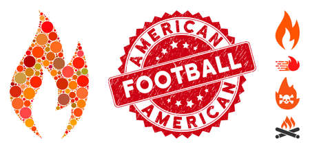 Mosaic fire flame icon and rubber stamp watermark with American Football caption. Mosaic vector is composed with fire flame icon and with random circle spots. American Football seal uses red color,