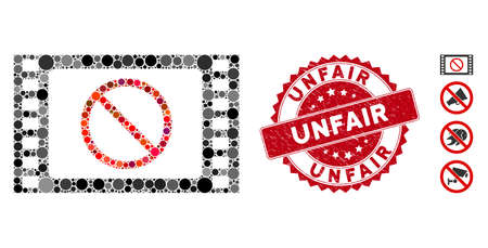 Mosaic forbidden movie icon and distressed stamp seal with Unfair caption. Mosaic vector is designed with forbidden movie icon and with random spheric items. Unfair stamp seal uses red color,
