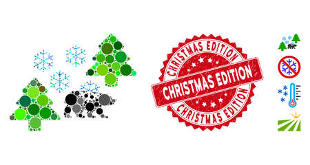 Mosaic frost Siberia icon and distressed stamp seal with Christmas Edition caption. Mosaic vector is formed with frost Siberia icon and with random circle elements.