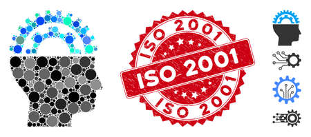 Mosaic gear engineer icon and grunge stamp seal with ISO 2001 caption. Mosaic vector is designed from gear engineer icon and with randomized round elements. ISO 2001 stamp seal uses red color, Ilustracja