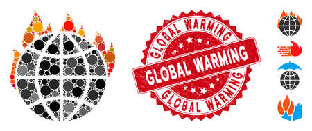 Mosaic global warming fire icon and distressed stamp seal with Global Warming text. Mosaic vector is formed from global warming fire icon and with random round spots.
