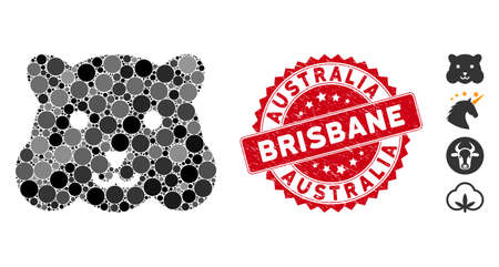 Mosaic hamster head icon and distressed stamp seal with Australia Brisbane text. Mosaic vector is designed with hamster head icon and with random circle items. Australia Brisbane seal uses red color,