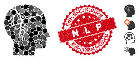 Mosaic head cancer icon and corroded stamp seal with Neuro-Linguistic Programming N L P phrase. Mosaic vector is created with head cancer icon and with randomized spheric items. Vektorové ilustrace