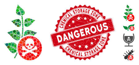 Mosaic herbicide toxin icon and rubber stamp seal with Chemical Storage Zone phrase. Mosaic vector is composed with herbicide toxin icon and with randomized round spots.