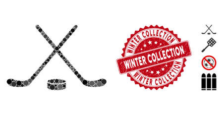 Mosaic hockey icon and rubber stamp seal with Winter Collection caption. Mosaic vector is formed with hockey icon and with scattered spheric elements. Winter Collection seal uses red color,