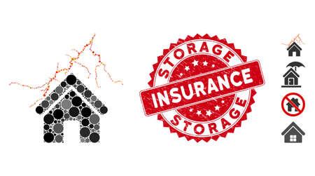 Casa de collage en icono de tormenta y sello de sello angustiado con texto de seguro de almacenamiento. El vector de mosaico se crea con el icono de inicio en tormenta y con puntos esféricos dispersos.