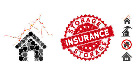 Collage home in thunderstorm icon and distressed stamp seal with Storage Insurance text. Mosaic vector is created with home in thunderstorm icon and with scattered spheric spots.