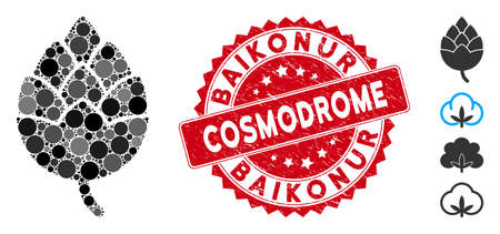 Mosaic hop bud icon and grunge stamp seal with Baikonur Cosmodrome phrase. Mosaic vector is designed with hop bud icon and with random circle spots. Baikonur Cosmodrome stamp seal uses red color, Vector Illustration