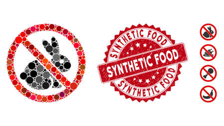Mosaic no rabbits icon and corroded stamp seal with Synthetic Food text. Mosaic vector is created with no rabbits icon and with scattered round items. Synthetic Food stamp uses red color, Illustration