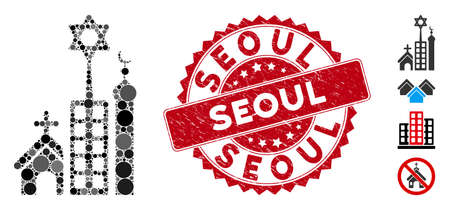 Mosaic Jerusalem city icon and grunge stamp seal with Seoul caption. Mosaic vector is designed with Jerusalem city icon and with random round spots. Seoul stamp seal uses red color, and grunge design.