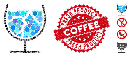 Mosaic ice drink icon and grunge stamp seal with Fresh Product Coffee text. Mosaic vector is formed with ice drink icon and with random spheric elements.