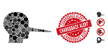 Mosaic liar icon and rubber stamp seal with Chargeback Alert caption. Mosaic vector is designed with liar icon and with random round elements. Chargeback Alert stamp seal uses red color, Foto de archivo - 134979229