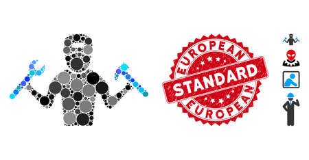 Mosaic mechanic boy icon and grunge stamp watermark with European Standard phrase. Mosaic vector is formed from mechanic boy icon and with scattered spheric items.
