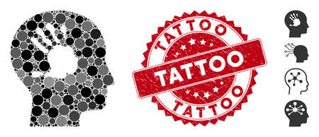 Mosaic mental imprinting icon and distressed stamp watermark with Tattoo text. Mosaic vector is formed with mental imprinting icon and with scattered round elements. Tattoo stamp seal uses red color,