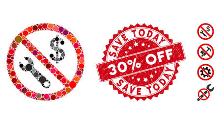 Collage no job icon and grunge stamp watermark with Save Today 30% Off text. Mosaic vector is formed with no job icon and with randomized spheric items. Save Today 30% Off stamp seal uses red color,