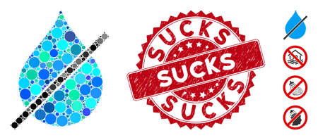 Mosaic no water drop icon and distressed stamp seal with Sucks caption. Mosaic vector is designed with no water drop icon and with randomized circle items. Sucks stamp seal uses red color,