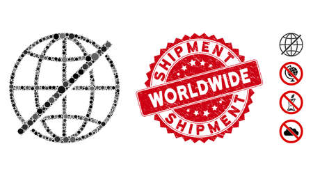 Mosaic not global icon and rubber stamp seal with Worldwide Shipment text. Mosaic vector is designed with not global pictogram and with randomized circle elements.