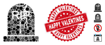 Mosaic old grave icon and corroded stamp seal with Happy Valentines caption. Mosaic vector is designed with old grave icon and with random spheric items. Happy Valentines stamp seal uses red color,