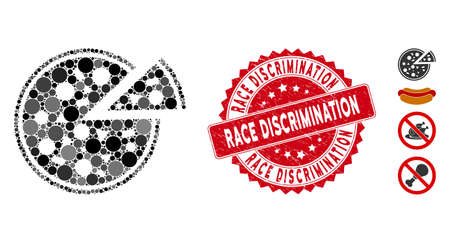 Mosaic pizza icon and rubber stamp watermark with Race Discrimination caption. Mosaic vector is composed with pizza icon and with scattered circle spots. Race Discrimination stamp uses red color, Foto de archivo - 134976560