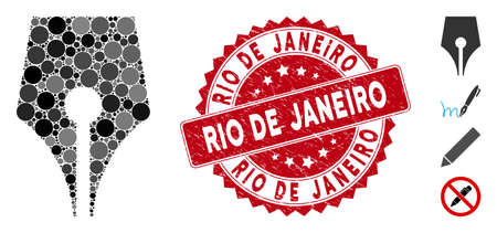 Mosaic poetry pen icon and grunge stamp seal with Rio De Janeiro phrase. Mosaic vector is formed with poetry pen icon and with scattered circle items. Rio De Janeiro seal uses red color, Illusztráció