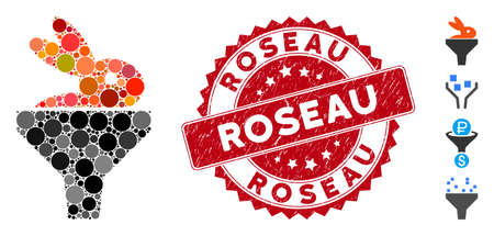 Mosaic rabbit puree funnel icon and corroded stamp seal with Roseau text. Mosaic vector is composed from rabbit puree funnel icon and with scattered circle items. Roseau stamp seal uses red color, Çizim
