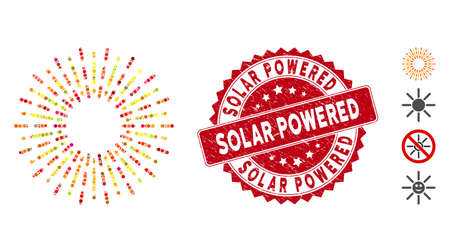Mosaic radiation rays icon and corroded stamp seal with Solar Powered phrase. Mosaic vector is formed from radiation rays icon and with random round elements. Solar Powered stamp seal uses red color,