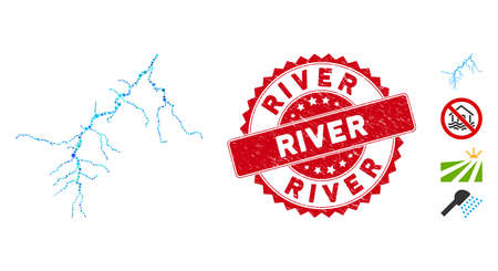 Mosaic river icon and rubber stamp watermark with River text. Mosaic vector is composed with river icon and with random spheric spots. River stamp uses red color, and distress design.