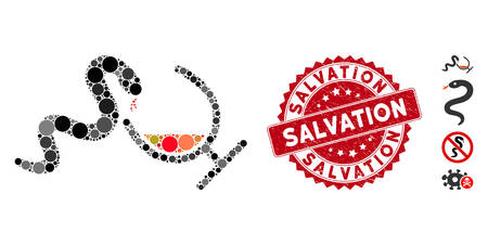 Mosaic snake toxin icon and grunge stamp watermark with Salvation caption. Mosaic vector is composed from snake toxin icon and with scattered round spots. Salvation stamp seal uses red color,