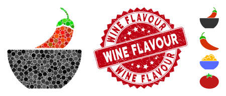 Mosaic spicy food icon and rubber stamp seal with Wine Flavour phrase. Mosaic vector is designed with spicy food icon and with random round items. Wine Flavour stamp seal uses red color,