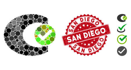Mosaic standard check icon and distressed stamp seal with San Diego text. Mosaic vector is created with standard check icon and with scattered round items. San Diego seal uses red color, Ilustrace