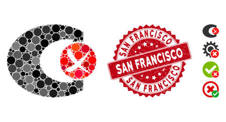 Mosaic standard control failed icon and grunge stamp seal with San Francisco caption. Mosaic vector is created from standard control failed pictogram and with random circle elements.