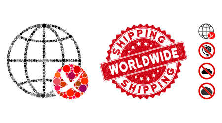 Mosaic stop global web icon and grunge stamp seal with Worldwide Shipping phrase. Mosaic vector is formed with stop global web pictogram and with random spheric items.