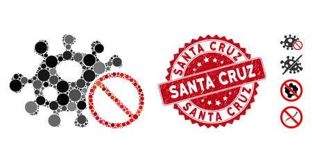 Mosaic stop infection icon and corroded stamp seal with Santa Cruz caption. Mosaic vector is composed from stop infection icon and with scattered spheric spots. Santa Cruz stamp seal uses red color, Vector Illustration
