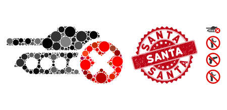 Mosaic stop tanks icon and grunge stamp seal with Santa text. Mosaic vector is formed with stop tanks pictogram and with scattered spheric spots. Santa stamp seal uses red color, and grunged design.