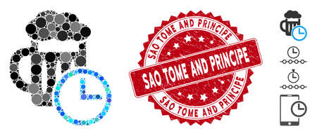 Mosaic time to drink beer icon and grunge stamp seal with Sao Tome and Principe phrase. Mosaic vector is formed from time to drink beer icon and with randomized spheric spots.