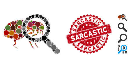 Mosaic total flea control icon and rubber stamp watermark with Sarcastic phrase. Mosaic vector is designed with total flea control icon and with random round spots.