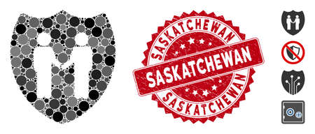 Mosaic trust shield icon and distressed stamp seal with Saskatchewan text. Mosaic vector is created with trust shield icon and with randomized spheric elements. Saskatchewan stamp seal uses red color,